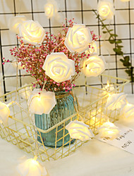 cheap -Valentine's Day 1.5M/3M/6M Rose Flower LED String Lights Battery Operated Christmas Holiday Lights For Valentine Wedding Decoration