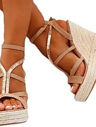 cheap -Women's Sandals Wedge Sandals Summer Wedge Heel Open Toe Daily PU Black / Silver