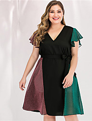 cheap -Women's Plus Size Maxi A Line Dress - Long Sleeve Color Block Solid Color Bow Patchwork Spring & Summer V Neck Casual Elegant Daily Going out Flare Cuff Sleeve Loose Blushing Pink L XL XXL XXXL