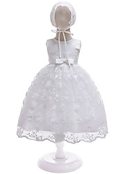 cheap -A-Line Floor Length First Communion Christening Gowns - Polyester Sleeveless Jewel Neck with Lace / Bow(s)