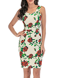 cheap -Women's Rose A Line Dress - Sleeveless Floral Backless Print Spring & Summer Strap V Neck Elegant Cute Party Going out Skinny Beige S M L XL XXL