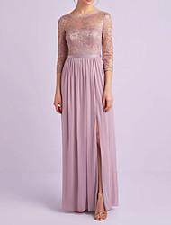 cheap -Sheath / Column Jewel Neck Floor Length Lace Bridesmaid Dress with Pleats / Appliques / Split Front