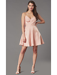 cheap -A-Line Beautiful Back Flirty Homecoming Cocktail Party Dress Halter Neck Sleeveless Short / Mini Stretch Satin with Criss Cross Ruched 2020