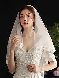 cheap -Two-tier Lace / Sweet Wedding Veil Elbow Veils with Fringe Lace / Tulle / Drop Veil