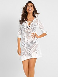 cheap -Women's White Black Dress Shift Solid Color One-Size