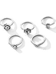 cheap -Ring Black Silver Alloy Elegant Holiday European 1 set Adjustable / Women's