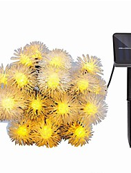cheap -6m 30 LED Solar Festoon Hair Ball Snow String Lights for Garden Patio Outdoor Lighting Idea Decoration Waterproof Flashing