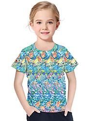 Недорогие -Дети Дети (1-4 лет) Девочки Активный Классический Фантастические звери Геометрический принт 3D Радужный С принтом С короткими рукавами Футболка Цвет радуги