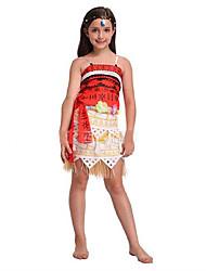 cheap -Princess Fairytale Moana Dress Women's Vacation Dress Halloween Carnival Children's Day Festival / Holiday Terylene Orange Women's Easy Carnival Costumes Solid Colored / Top / Skirt / Belt / Top