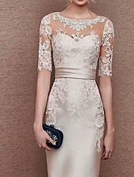 cheap -Sheath / Column Mother of the Bride Dress Elegant Jewel Neck Floor Length Stretch Satin Short Sleeve with Appliques 2020
