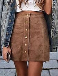 cheap -Women's Mini Bodycon Skirts Solid Colored