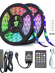 cheap -(2*5M)32.8ft LED Light Strips RGB Tiktok Lights 5050 300leds 10mm Tape Light Waterproof Color Changing Flexible Rope Strips Lights Kit DC 12V Powered with 20 Key Music IR Remote for Home Bedroom Light
