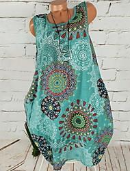 cheap -Women's A Line Dress - Sleeveless Geometric White Blue Purple Green Gray S M L XL XXL XXXL XXXXL XXXXXL