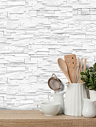 cheap -20x10cmx9pcs White Stone Brick Wall Stickers Retro Oil-proof Waterproof Tile Wallpaper For Kitchen Bathroom Ground Wall House Decoration