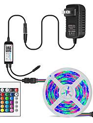 Недорогие -5м гибкие светодиодные полосы света наборы света RGB TIKTOCK 150 светодиодов SMD5050 10 мм 1 24 ключа пульт дистанционного управления / 1 х 12 В 3a блок питания 1