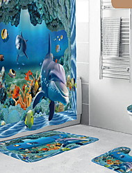 cheap -Dolphin Underwater World 3D Digital Printed Full Polyester Waterproof Shower Curtain