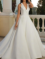 cheap -A-Line V Neck Sweep / Brush Train Satin Sleeveless Country Plus Size Wedding Dresses with Side-Draped 2020