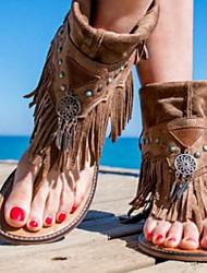 cheap -Women's Sandals Flat Heel Open Toe PU Summer Brown / Coffee