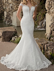 cheap -Mermaid / Trumpet Wedding Dresses Jewel Neck Sweep / Brush Train Lace Tulle Short Sleeve Country See-Through Plus Size with Lace Appliques 2020