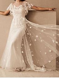cheap -A-Line Wedding Dresses Scoop Neck Floor Length Tulle Short Sleeve Country Plus Size with Embroidery 2020