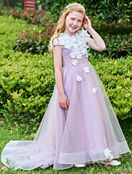 cheap -A-Line Sweep / Brush Train Wedding Flower Girl Dresses - Tulle Cap Sleeve Jewel Neck with Appliques