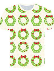 levne -Pánské Větší velikosti Barevné bloky 3D Tisk Tričko Základní Přehnaný Denní Sport Kulatý Duhová / Krátký rukáv