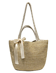 cheap -Women's Bow(s) Polyester / Straw Top Handle Bag Straw Bag Solid Color Beige / Fall & Winter