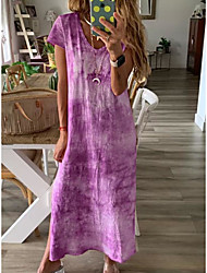 cheap -Women's Maxi Wine Purple Dress Summer Casual / Daily Loose Print V Neck S M Loose