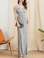 cheap -Mermaid / Trumpet Elegant Grey Prom Formal Evening Dress Jewel Neck Short Sleeve Floor Length Polyester with Tassel 2020