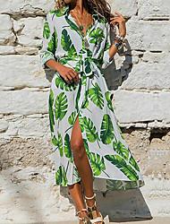 cheap -Women's Maxi A Line Dress - Half Sleeve Print V Neck White Purple Yellow Blushing Pink S M L XL XXL / Cotton