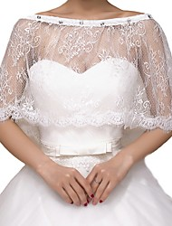 cheap -Half Sleeve Capes Lace Wedding Shawl & Wrap With Lace