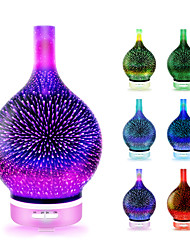 cheap -Essential oil diffuser 3D Glass Starry Sky Aromatherapy Oil Diffuser Cold Mist Ultrasonic Humidifier With 7 Color Changing LED 120ml Home Office Yoga Baby SleepWater shortage automatic shutdown