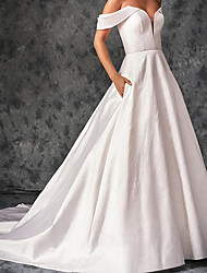 cheap -A-Line Wedding Dresses Off Shoulder Sweep / Brush Train Chiffon Over Satin Short Sleeve Country Plus Size with Draping 2020