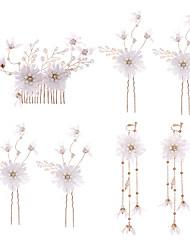 Недорогие -Жен. Свадебные комплекты ювелирных изделий Цветы Стиль Серьги Бижутерия Белый Назначение Свадьба Для вечеринок 1 комплект