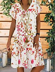 cheap -Women's A Line Dress - Short Sleeves Floral Summer V Neck Casual 2020 White Beige S M L XL XXL XXXL