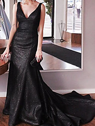 cheap -Mermaid / Trumpet Sparkle Black Engagement Formal Evening Dress V Neck Sleeveless Court Train Sequined with Sequin 2020