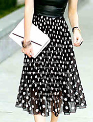 cheap -Women's Swing Skirts - Polka Dot White Black L XL XXL