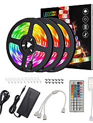 cheap -15M(3x5M) Waterproof LED Light Strips RGB Tiktok Lights Flexible 5050 SMD 450 LEDs IR 44 Key Controller with Installation Package 12V 6A Adapter Kit