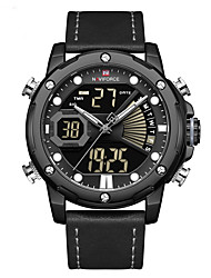 cheap -NAVIFORCE Men's Sport Watch Quartz Modern Style Sporty Fashion Calendar / date / day Analog - Digital Black Blue Orange / Two Years / Genuine Leather / Japanese / Chronograph / Dual Time Zones
