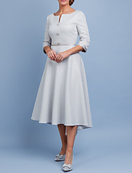 cheap -A-Line Mother of the Bride Dress Elegant Off Shoulder Tea Length Satin Half Sleeve with Pleats 2020