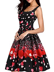 cheap -Women's A Line Dress - Sleeveless Floral Black Red Blushing Pink S M L XL XXL