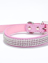 cheap -Dog Collar Adjustable / Retractable Rhinestone PU Leather Red Blue Pink Rose Beige