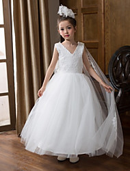 cheap -Ball Gown Floor Length Wedding Flower Girl Dresses - Chiffon Sleeveless V Neck with Bow(s) / Solid
