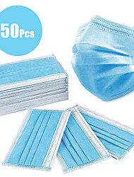 cheap -50 pcs Face Mask Protection 3 Layers In Stock Nylon Nonwoven Cotton Unisex Light Blue