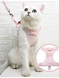 cheap -Cat Harness Leash Adjustable Soft Safety Solid Colored Cotton Pink Blue 2pcs