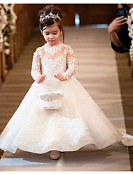 cheap -Ball Gown Court Train Wedding Flower Girl Dresses - Polyester Long Sleeve Illusion Neck with Bow(s) / Solid