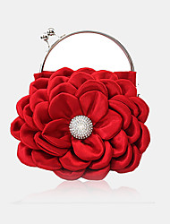 cheap -Women's Crystals / Flower Silk Evening Bag Solid Color Red / White