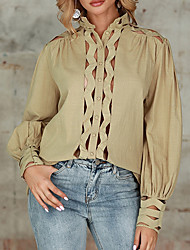 cheap -Womens Sexy Casual Long Sleeve Hollow Latest Fashion Design Blouse A-05