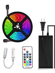 Недорогие -5м гибкие светодиодные полосы света комплекты RGB лампы Tiktok 300 светодиодов smd5050 10мм 17-клавишный пульт дистанционного управления / 1 х 12В 5а блок питания 1