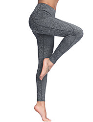 cheap -Women's High Waist Yoga Pants Side Pockets Leggings Butt Lift 4 Way Stretch Breathable Black Gray Non See-through Gym Workout Running Fitness Sports Activewear Stretchy / Moisture Wicking / Quick Dry